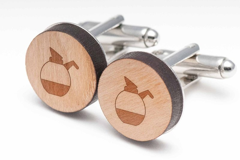 Wooden Coffee Pot Cuff Links
