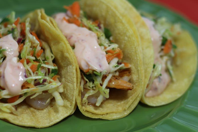 Crispy Sweet Chili Shrimp Tacos with Cilantro Slaw from Blackberry Babe Reviewed
