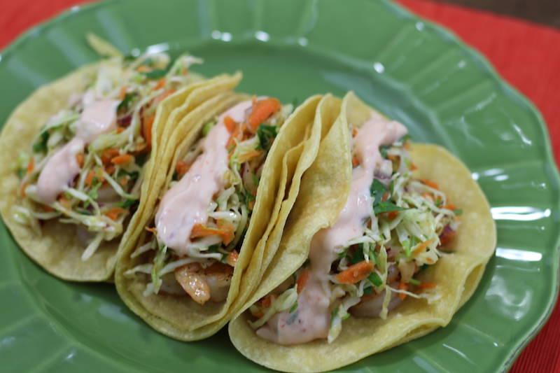 crispy shrimp sweet chili tacos