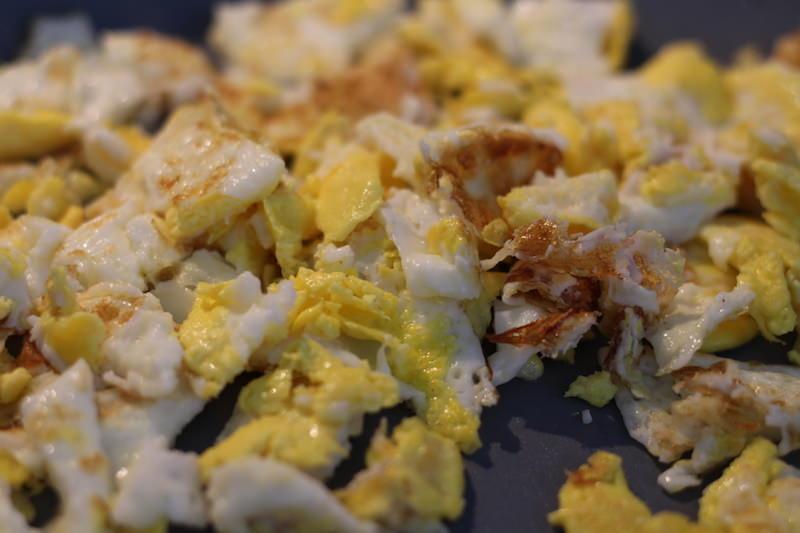cut up raw eggs