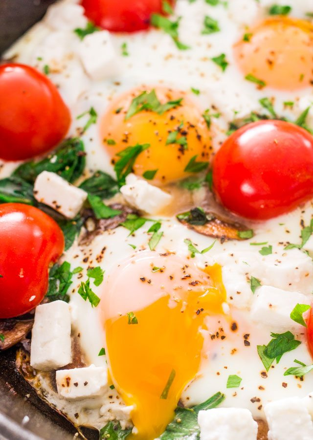 Mushroom, Spinach and Goat Cheese Baked Eggs