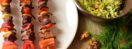Beef and Vegetable Skewers with Cabbage Salad and Walnuts