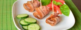 Beef and Bacon Wraps with Summer Salad and Basil