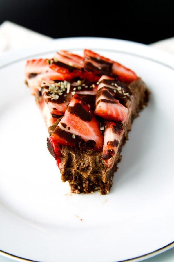 Triple Chocolate Strawberry Cheesecake