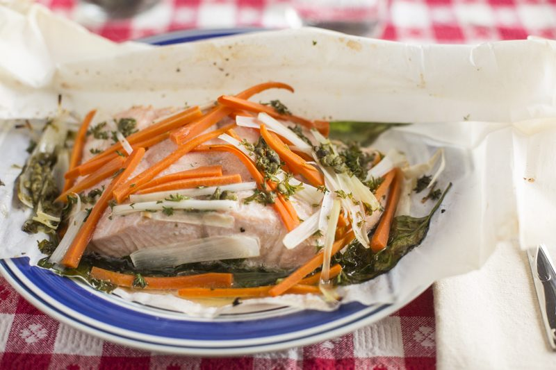 Steamed Salmon en Papillote Close Up Carrot Leeks Capers