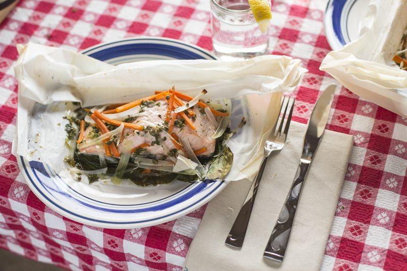 Steamed Salmon en Papillote Place Setting Lemon Flatware