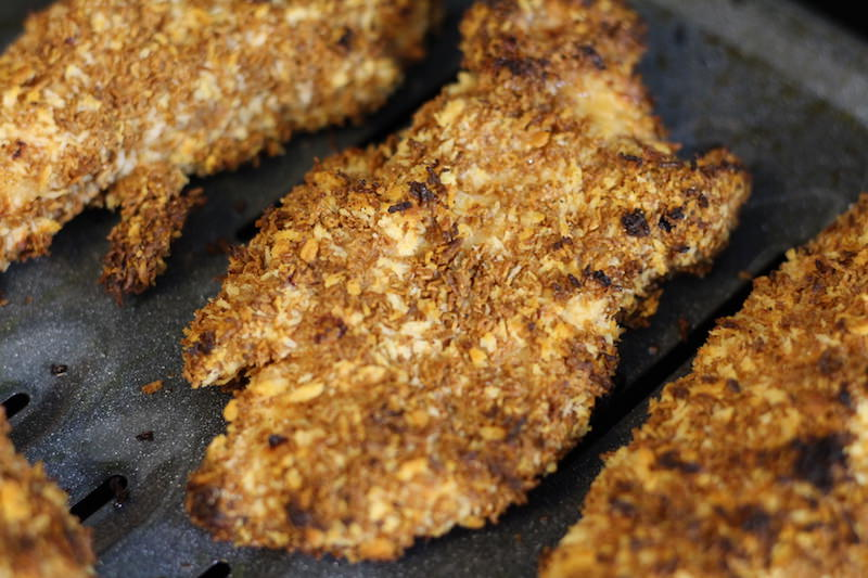 breaded chicken finished baking