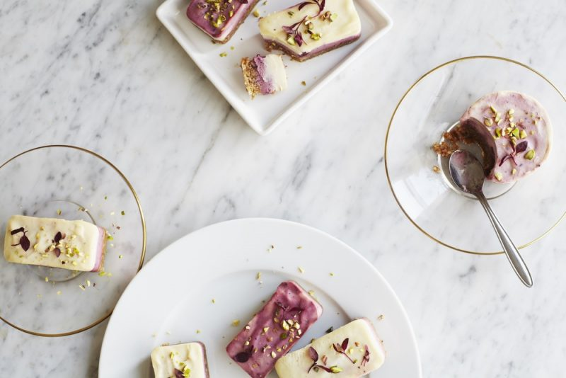 Lemon, Acai, Beetroot and Blueberry Cheesecake