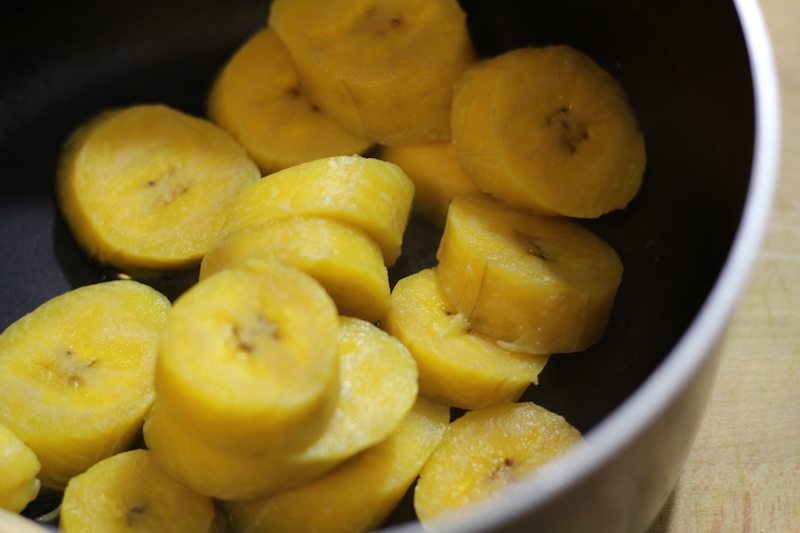 plantains cut boiled finished