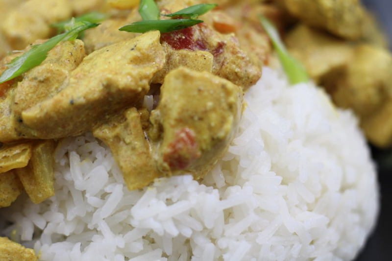 quick chicken curry closeup
