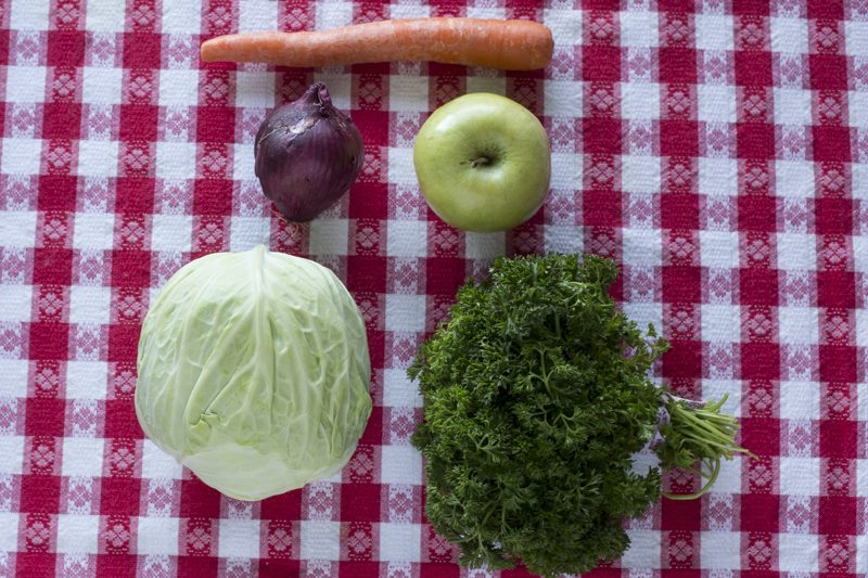 ColeSlaw Ingredients Raw Cabbage Carrot Apple Onion Parsley