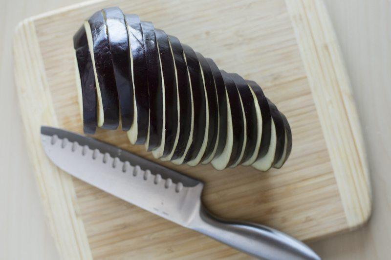 Eggplant Parmesan Prep table Slices Knife Cutting Board