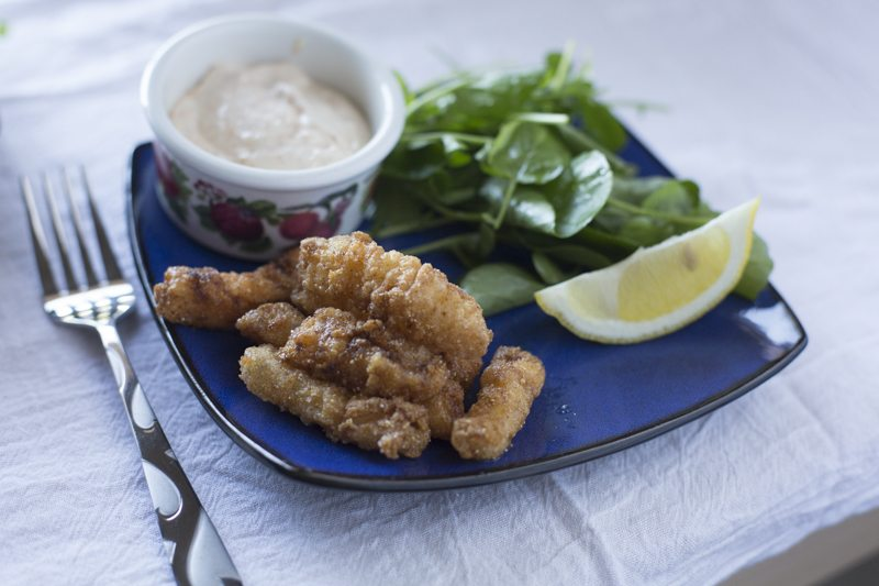 Fried Calamari Spicy Aioli Watercress Salad Detail Low Angle Plate