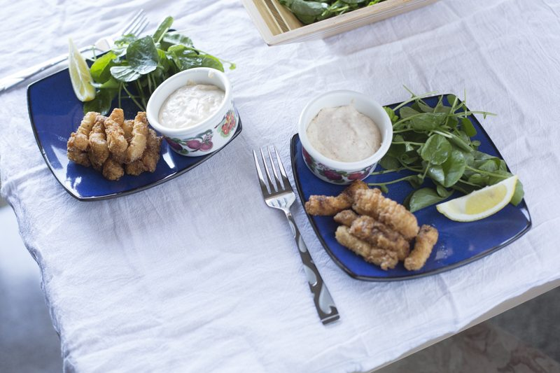 Fried Calamari Spicy Aioli Watercress Salad Two Plates BowlTable Dinner