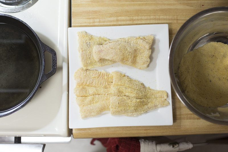 Fried Catfish Oven Fries Prep Raw Breading Pan Stove