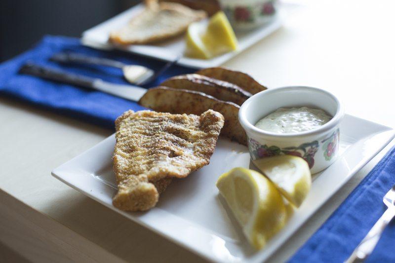 Fried Catfish Oven Fries Two Plates Detail Dinner Square Plates Lemon