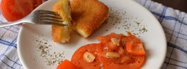 Fried Cheese with Balsamic Tomatoes