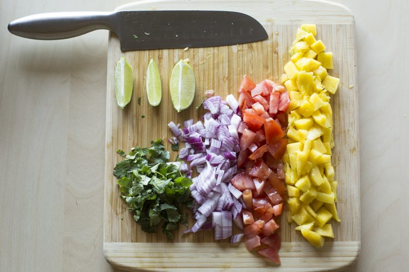 Fried Fish Tacos Mango Tomato Salsa Prep Fruit Cilantro Board Knife Prep
