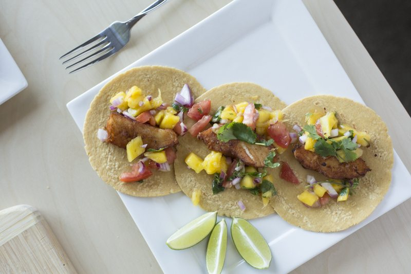 Fried Fish Tacos Mango Tomato Salsa Top Down Detail Square Plate