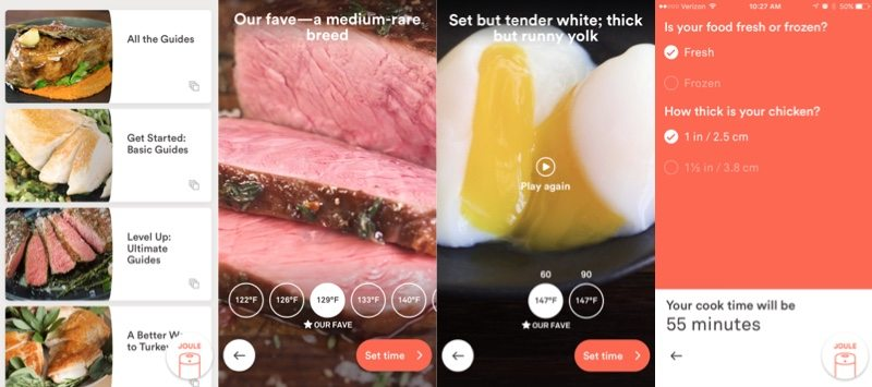 inside the joule app pictures of steak, eggs, and settings