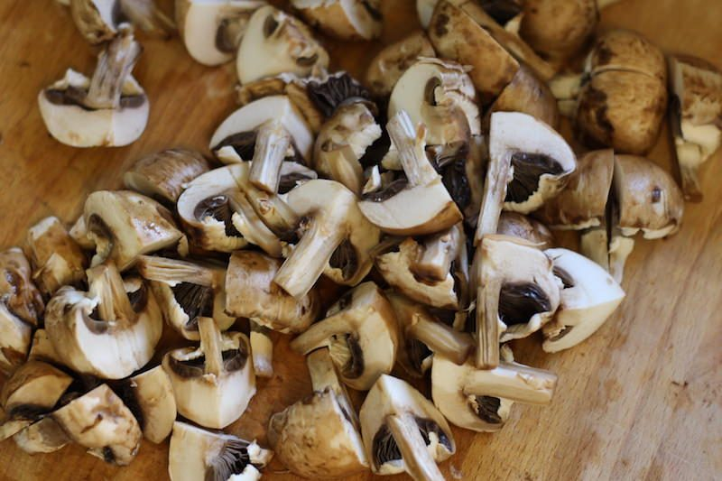 raw mushrooms cut