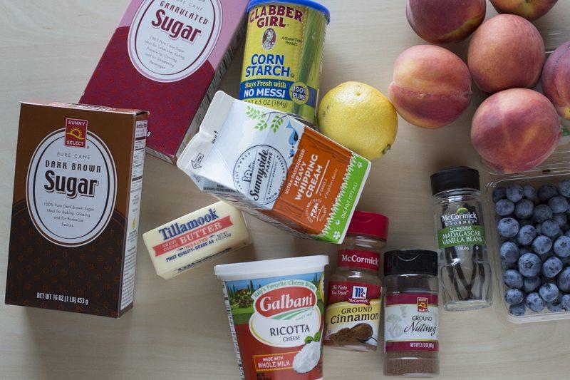 Blueberry Peach Crumble Vanilla Bean Whipped Ricotta Ingredients Prep