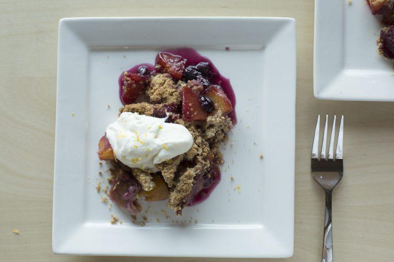Blueberry Peach Crumble Vanilla Bean Whipped Ricotta Square Plate Detail Top Down Fork