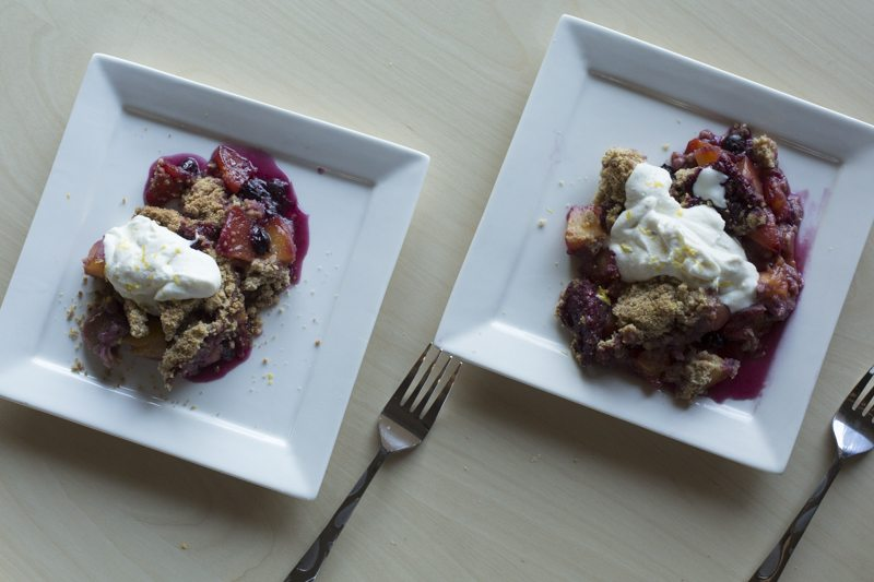 Blueberry Peach Crumble Vanilla Bean Whipped Ricotta Two Servings Forks Square Plates Cream