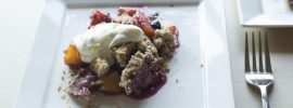 Quick Blueberry Peach Crumble with Vanilla Bean Whipped Ricotta