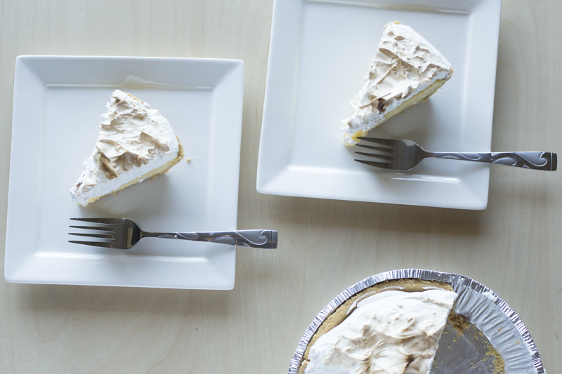 Lemon Meringue Pie Dessert Two Plates Square Top Down