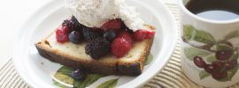 Quick Lemon Pound Cake with Berries and Honey Mascarpone Cream