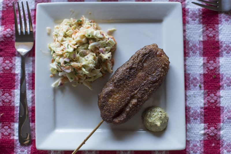 Quick Fried Corndogs with Creamy Coleslaw