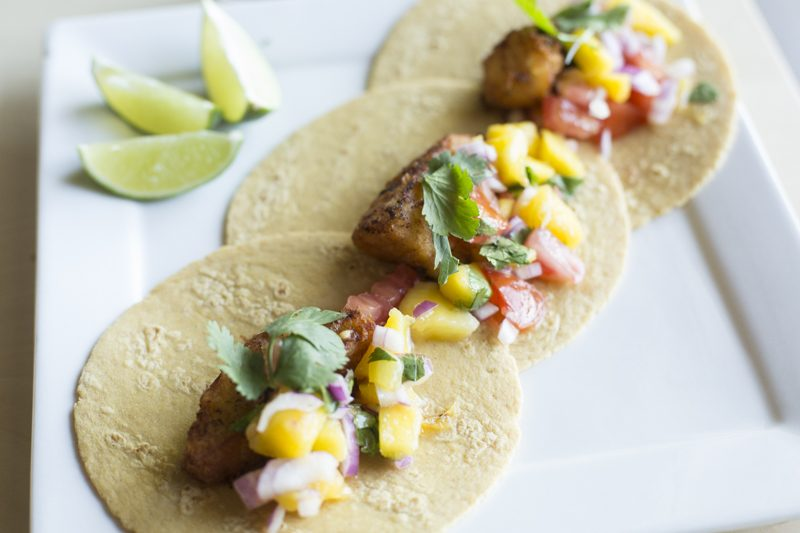 Quick Fried Fish Tacos with Mango-Tomato Salsa