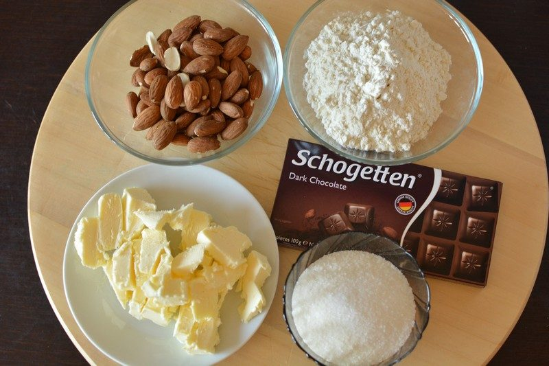 Almond biscuits with chocolate cream ingredients