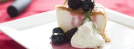 Angelfood Cake with Blueberry-Blackberry Compote and Tarragon