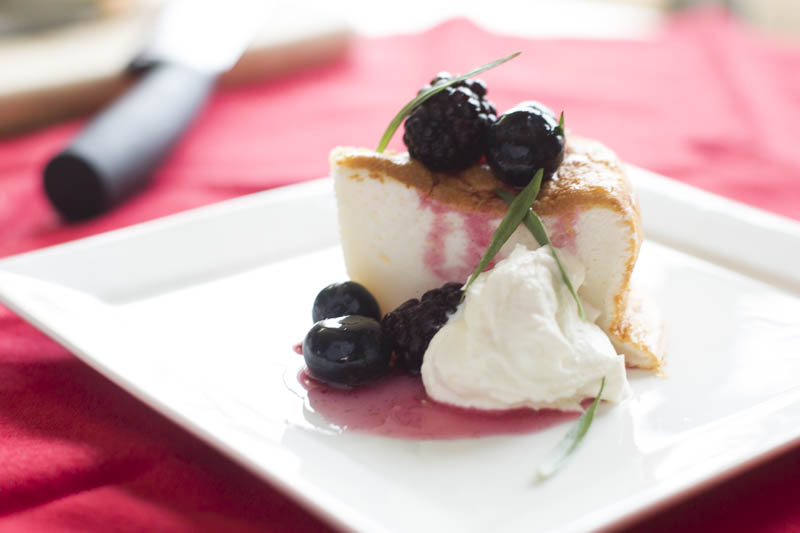 Angelfood Cake with Blueberry-Blackberry Compote and Tarragon Recipe