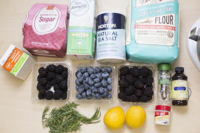 blueberries, blackberries, sugar, cream, flour, egg whites, salt, lemon, tarragon, vanilla bean, vanilla extract, cream of tartar, flour