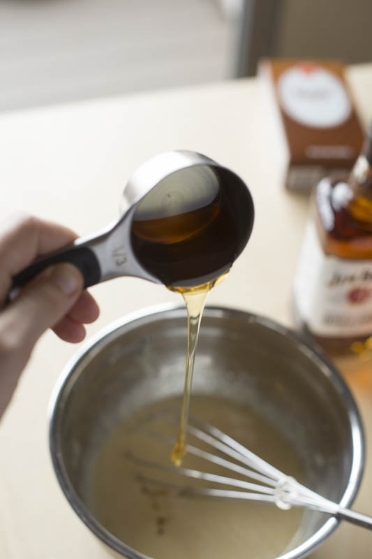 Pour wet ingredients into dry ingredients, and blend with a large whisk till just combined