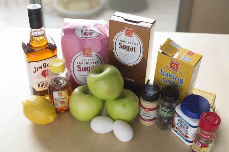 sugar, whiskey, lemon, honey, apples, eggs, ginger, baking soda, cinnamon, baking powder, vanilla beans
