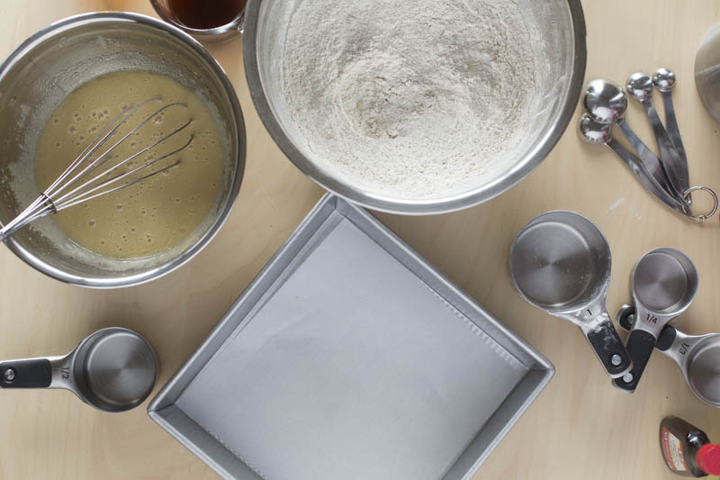 Measure the all purpose flour, baking powder, baking soda, salt, cinnamon, and ginger into a large bowl and blend well
