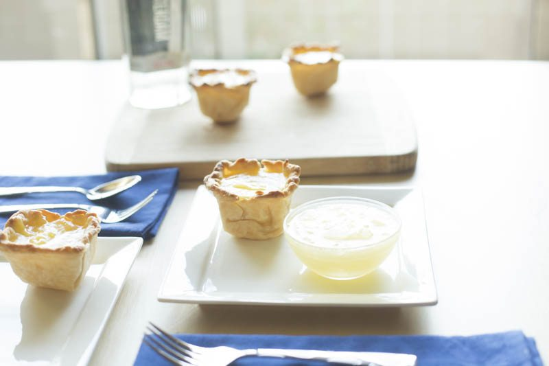 lemon-olive-oil-tart-basil-gin-granita-two-plates-blue-bottle