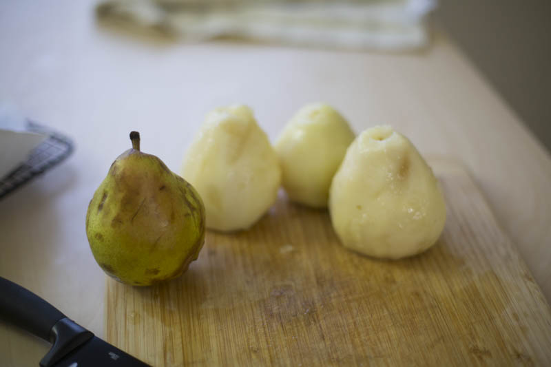 Meanwhile, peel and core the pears, toss with a little lemon juice if they have to wait