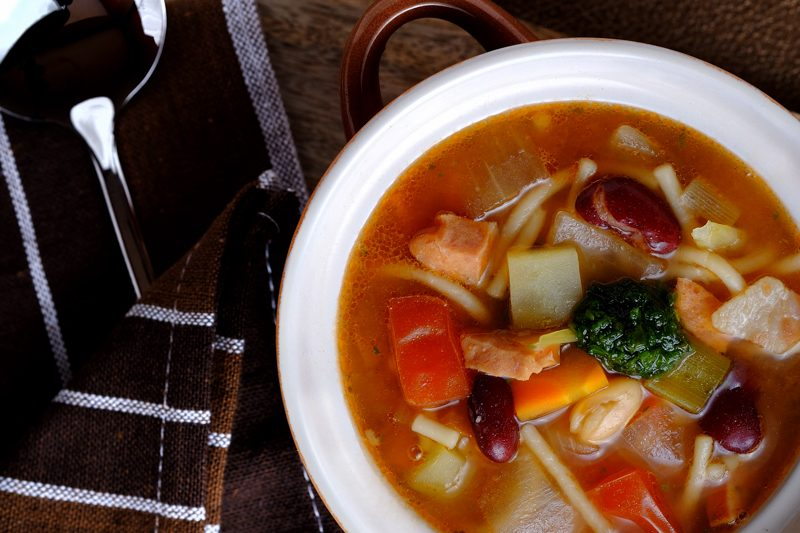 Slow Cooker Minestrone Soup with Bratwurst and Pesto
