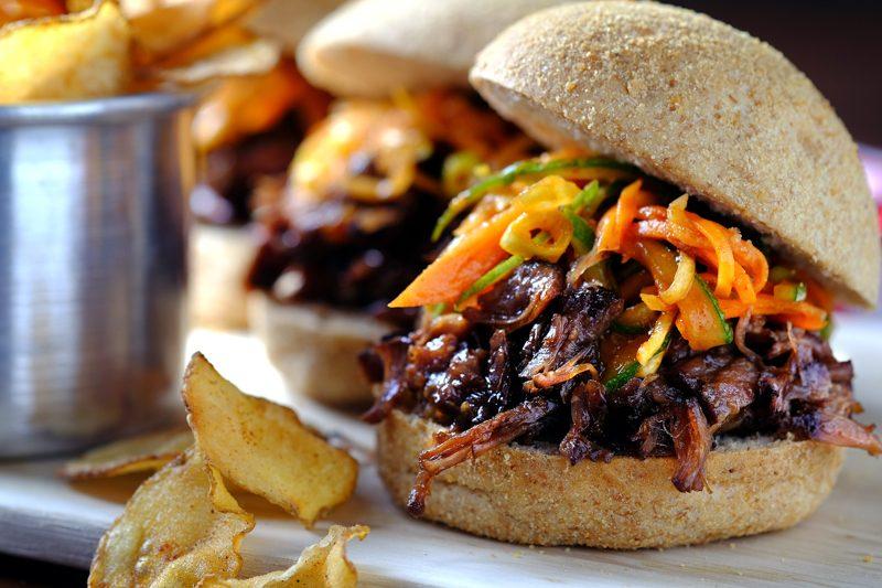 Slow Cooker Beef Bulgogi Sliders with Kimchi Slaw
