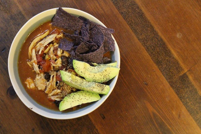 Slow Cooker Blue Corn Beer Chicken Taco Soup