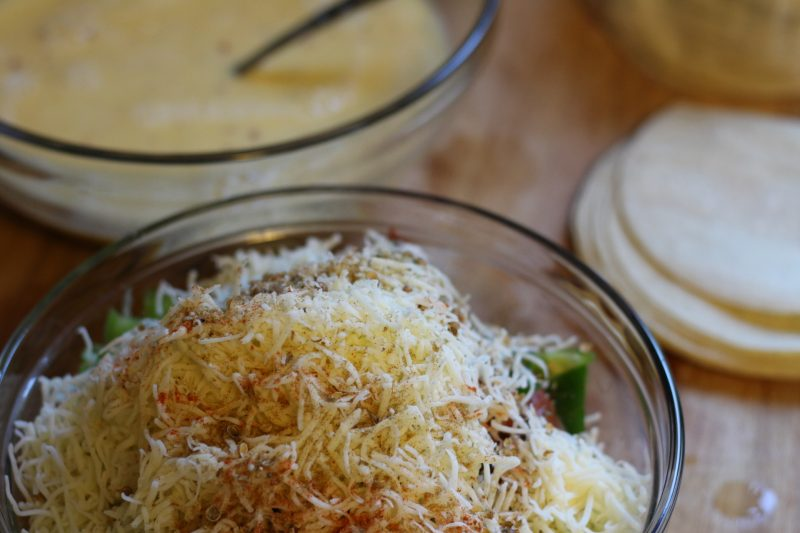 mexican-breakfast-casserole-mixed-ingredients