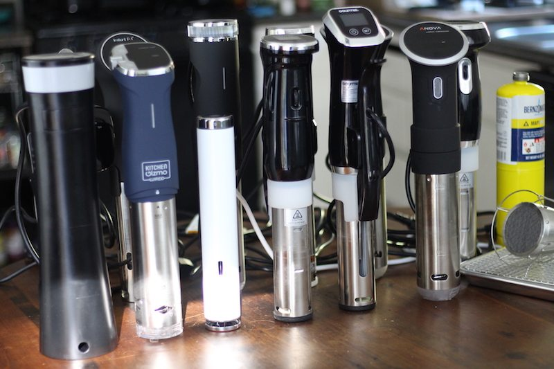 12 different immersion circulators standing side by side