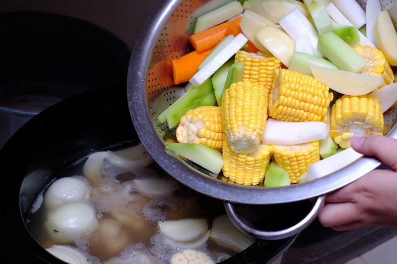 dump veggies into slow cooker