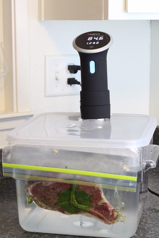 anova sous vide cooker in container cooking herbed steak