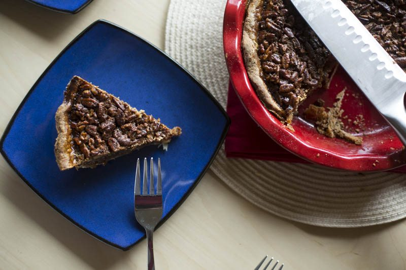 forks and pecan pie top view